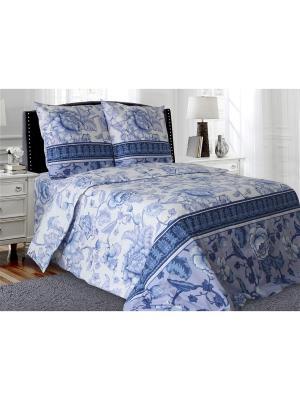 Комплект постельного белья 1,5-спальный Блакiт. Цвет: синий, белый