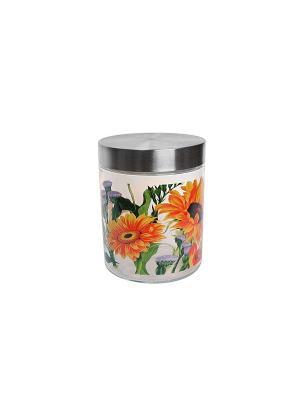 Банка Подсолнухи 1250мл Elff Ceramics. Цвет: серебристый, оранжевый