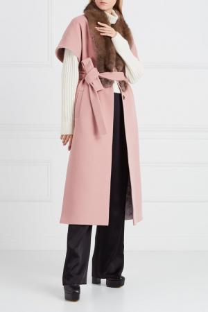 Розовый жилет из кашемира с мехом куницы DREAMFUR. Цвет: розовый