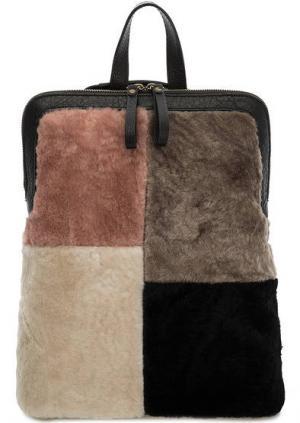 Разноцветная меховая сумка-рюкзак на молнии Io Pelle. Цвет: мультиколор