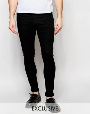 Liquor N Poker Черные эластичные супероблегающие джинсы. Цвет: черный