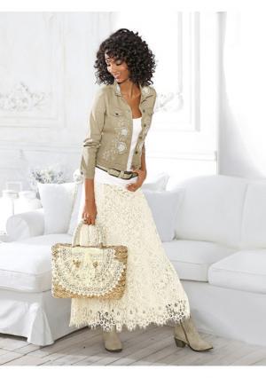 Кружевная юбка Linea Tesini. Цвет: молочно-белый