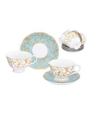 Чайный набор Королевский узор на голубом Elan Gallery. Цвет: золотистый,белый,голубой