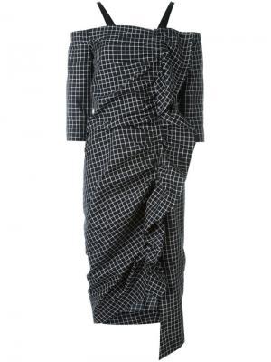 Платье с принтом в клетку и рюшами Isa Arfen. Цвет: чёрный