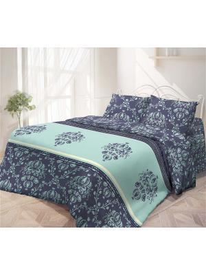 Комплект постельного белья 2,0-сп, ГАРМОНИЯ, поплин 70*70см, Инджи Волшебная ночь. Цвет: синий, голубой