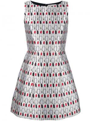 Платье с принтом помад Alice+Olivia. Цвет: телесный
