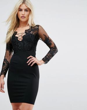 Love Triangle Платье мини с вышитым сетчатым топом и шнуровкой. Цвет: черный