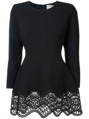 Embroidered peplum blouse Lela Rose. Цвет: чёрный