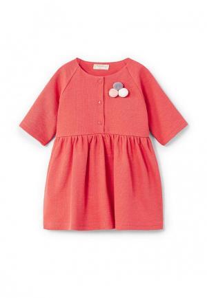 Платье Mango Kids. Цвет: красный