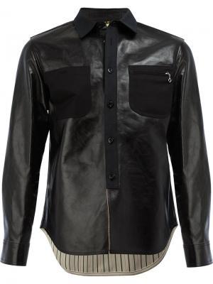Кожаная куртка-рубашка Junya Watanabe Comme Des Garçons Man. Цвет: чёрный