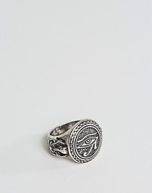 ASOS Серебристое кольцо с египетским амулетом глаз Гора. Цвет: золотой