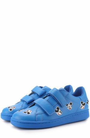 Кожаные кеды с застежками велькро и нашивками MOA. Цвет: синий
