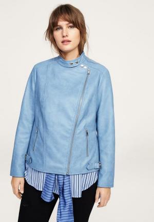 Куртка кожаная Violeta by Mango. Цвет: голубой
