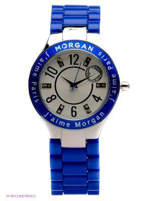 Часы Morgan. Цвет: синий, молочный, серебристый