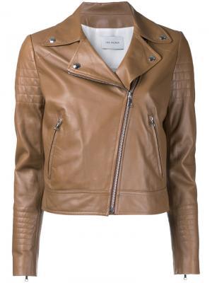 Классическая байкерская куртка Yves Salomon. Цвет: коричневый