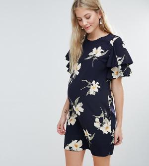 Queen Bee Цельнокройное платье с цветочным принтом. Цвет: темно-синий
