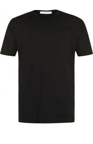 Хлопковая футболка с круглым вырезом Daniele Fiesoli. Цвет: черный