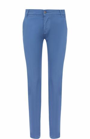 Хлопковые брюки прямого кроя 2 Men Jeans. Цвет: синий