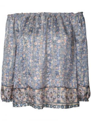 Блуза с цветочным узором Joie. Цвет: синий