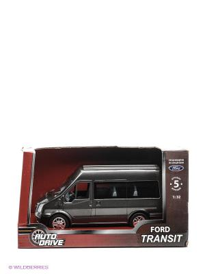Форд Транзит 1:32, инерц., пластиковая машинка AUTODRIVE. Цвет: серый