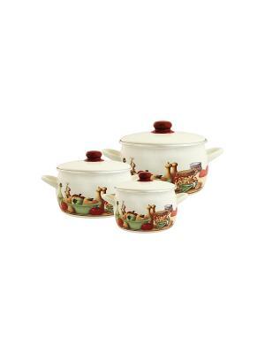 Набор посуды 6 предметов (2,2л, 4,0л, 5,3л), мет.крышки METROT. Цвет: бежевый