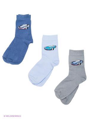 Носки детские, 3 пары БРЕСТСКИЕ. Цвет: индиго, голубой, светло-серый