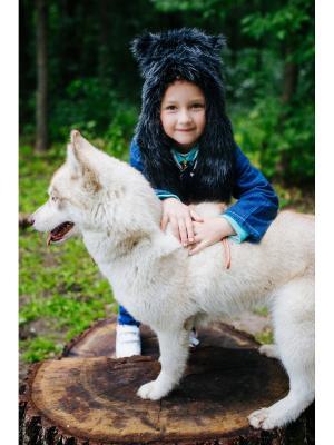 Шапка Королевский Волк детская ZVEROSHAPKI. Цвет: черный, белый