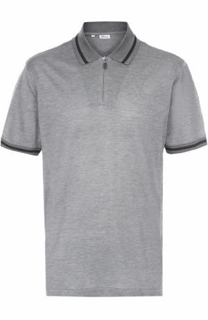 Поло из смеси шелка и хлопка с воротником на молнии Brioni. Цвет: серый