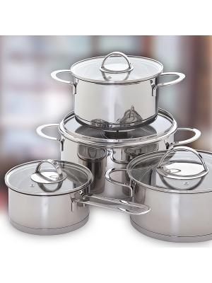 Augustin Welz Набор посуды из нержавеющей стали и мини-измельчитель в подарок. Цвет: серый
