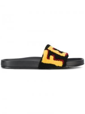 Шлепанцы с логотипом Fendi. Цвет: чёрный