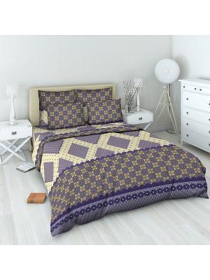 Комплект постельного белья 1,5 спальный Василиса. Цвет: синий, бежевый
