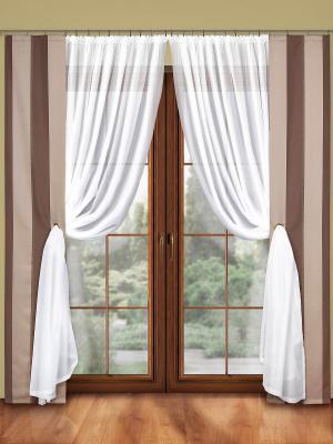 Комплект штор Wisan. Цвет: белый, светло-бежевый, темно-бежевый