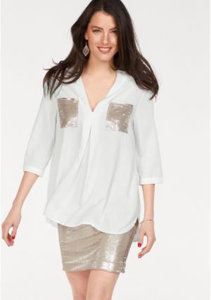 Блузка VIVANCE. Цвет: белый/золотистый