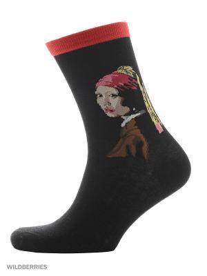Носки ART-дизайн HOBBY LINE. Цвет: черный, бордовый, коричневый