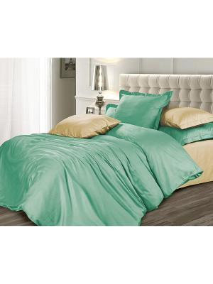 Комплект постельного белья 1,5 сатин Мятная сюита Унисон. Цвет: зеленый, бежевый