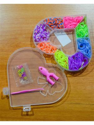 Набор резинок для плетения 500 крючок рогатка S-зажимы Loom Bands. Цвет: прозрачный