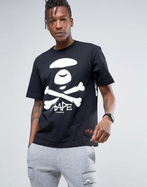 AAPE BY A BATHING APE Футболка с большим логотипом. Цвет: черный