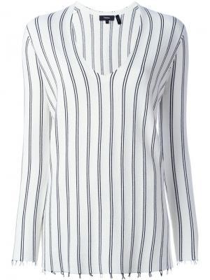 Полосатый свитер с V-образным вырезом Theory. Цвет: белый