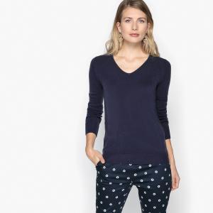 Пуловер из тонкого трикотажа с V-образным вырезом ANNE WEYBURN. Цвет: темно-синий,фуксия,хаки