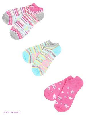 Носки, 3 пары ROXY. Цвет: розовый