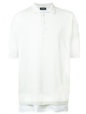 Layered polo shirt Raf Simons. Цвет: белый