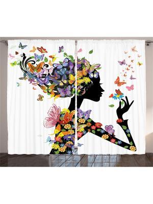 Комплект фотоштор для гостиной Цветочная фея с бабочками , плотность ткани 175 г/кв.м, 290*265 см Magic Lady. Цвет: черный, желтый, розовый