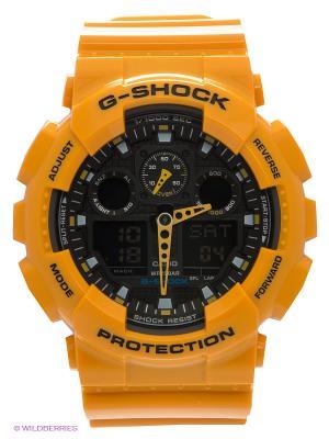 Часы G-SHOCK GA-100A-9A CASIO. Цвет: желтый, черный