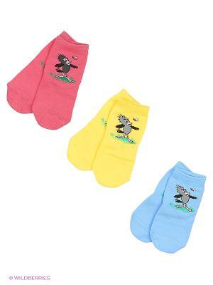 Носки - 3 пары Гамма. Цвет: желтый, голубой, малиновый