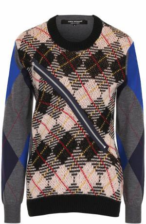 Шерстяной пуловер с круглым вырезом Junya Watanabe. Цвет: разноцветный