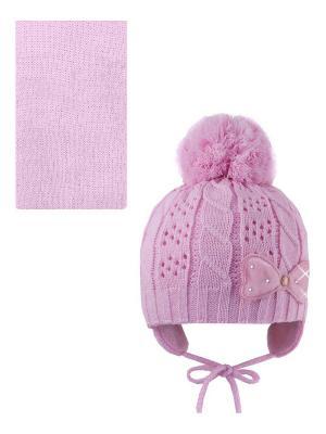 Шапка, шарф Pro-han. Цвет: розовый