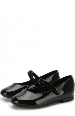 Лаковые балетки с застежками велькро Dolce & Gabbana. Цвет: черный