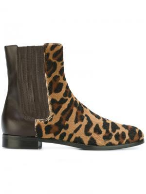 Сапоги с леопардовым принтом Alberta Ferretti. Цвет: коричневый