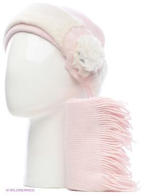 Шапка, шарф Vittorio Richi. Цвет: бледно-розовый, белый