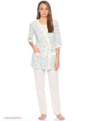 Комплект домашней одежды (халат, майка, брюки) HomeLike. Цвет: голубой, молочный